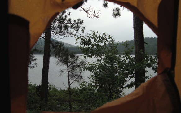 looking out the vestibule on our island campsite on Scarecrow Lake