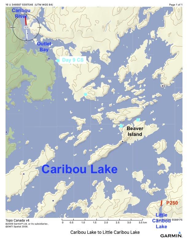 Caribou Lake OUtlet Bay to Portage Into Little Caribou Lake