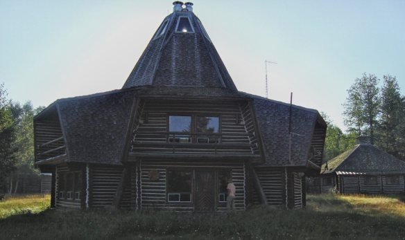 the main lodge with its dramatic roof