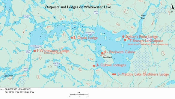 location of lodges and outposts on Whitewater Lake in Wabakimi Provincial Park