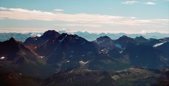 a preview of our next climb- Mount Assiniboine from Bugaboo Spire top