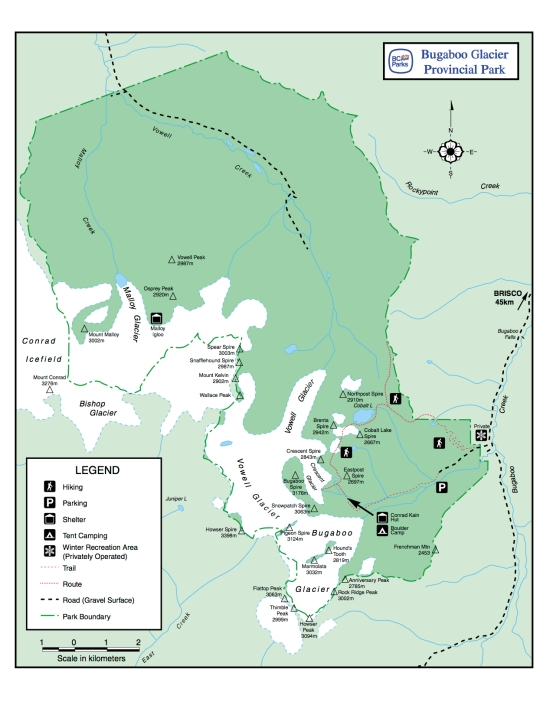 Bugaboo Glacier Provincial Park map