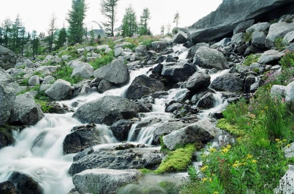 Bugaboos glacial stream near the Kain Hut