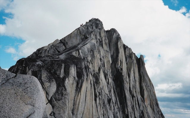 climbers on Pigeon Spire in the Bugaboos