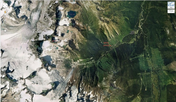 satellite view of Bugaboos- from car park to Bugaboo Spires
