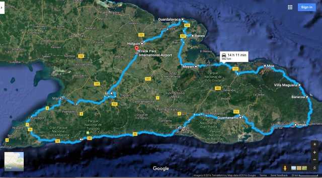 eastern-cuba-trip-route