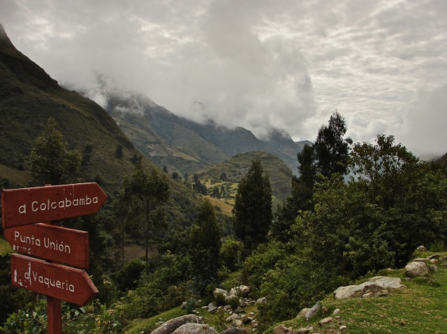destination sign in the Huarapampa valley