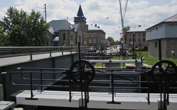 The Merrickville canal locks with main street behind