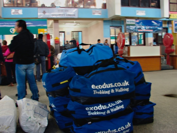 Exodus duffel bags at the airport check-in...common bag helps to keep things together