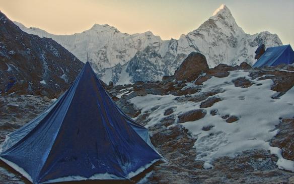 morning camp on the Imja Khola side of Kongma La