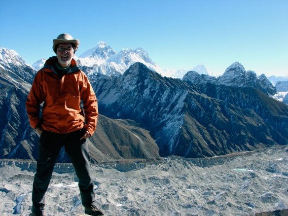 on top of Gokyo Ri- Everest and Lhotse two valleys  away