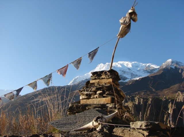 the hills above Manang with one of the Annapurnas in the background
