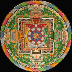 mandala with the five colours of the prayer flag