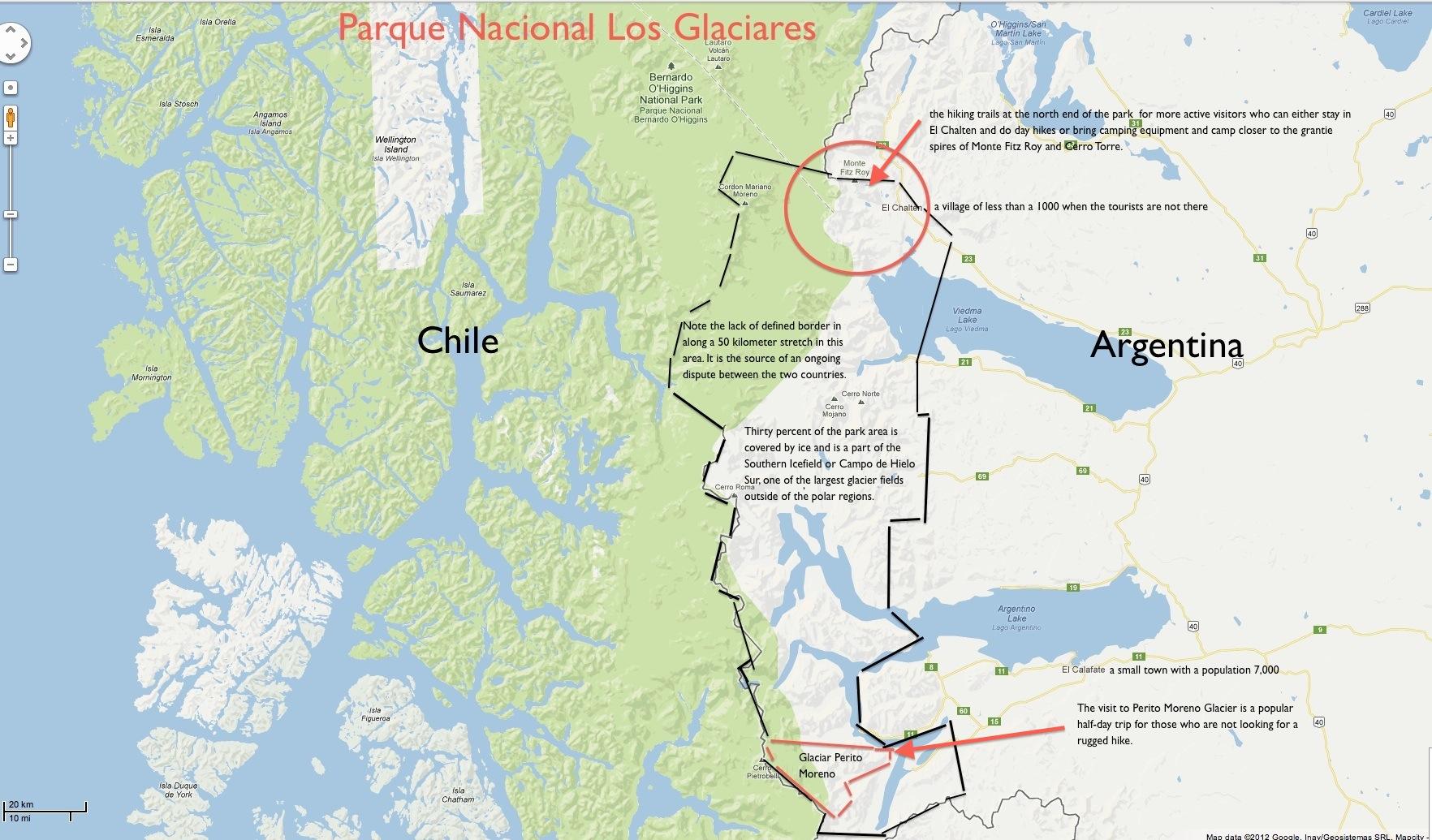 Argentinas Hiking Capital El Chaltén Monte Fitz Roy Ramblin Boy - Argentina highway map