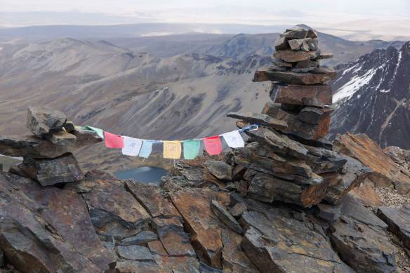 prayer flags on Pico Austria in the Cordillera Real in Bolivia