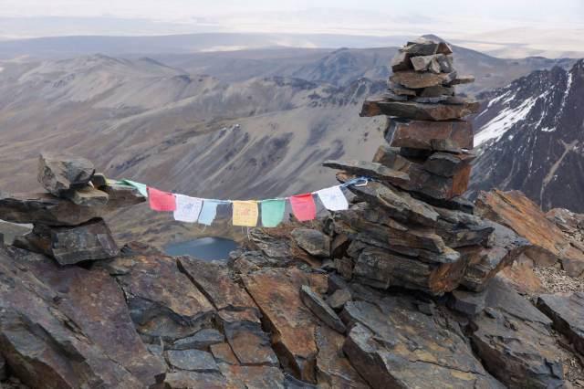 prayer flags on Pico Austria in the Cordillera Real in Bolivia