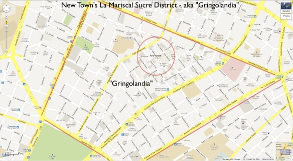Gringolandia in quito, ecuador  map