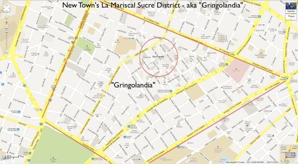 Gringolandia in quito, ecuador map