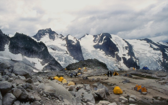 the Applebee campsite above the Kain Hut in the Bugaboos