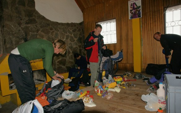 4 p.m.- getting our packs ready at the Whymper Hut