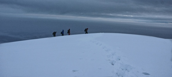 climbing team approaching Chimborazo summit - 6:30 a.m.