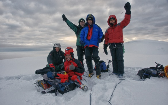 the crew on top of Chimborazo- it is 6:45 a.m.