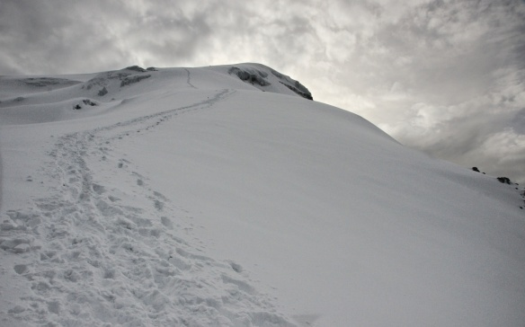 looking back at our path up to the summit of Chimborazo