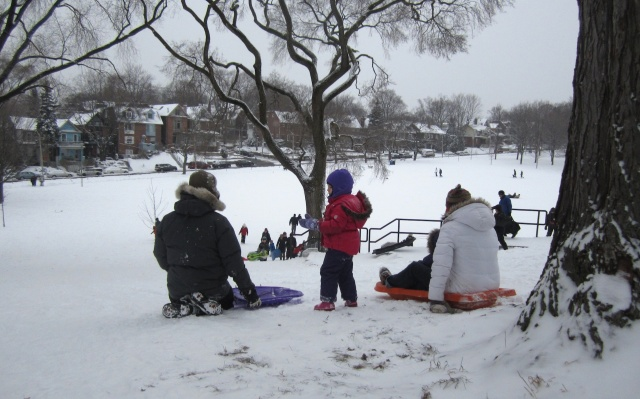 family fun time on the slopes of Withrow Park