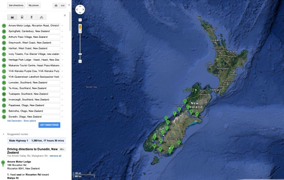 2013 New Zealand South Island Bicycle Tour Route