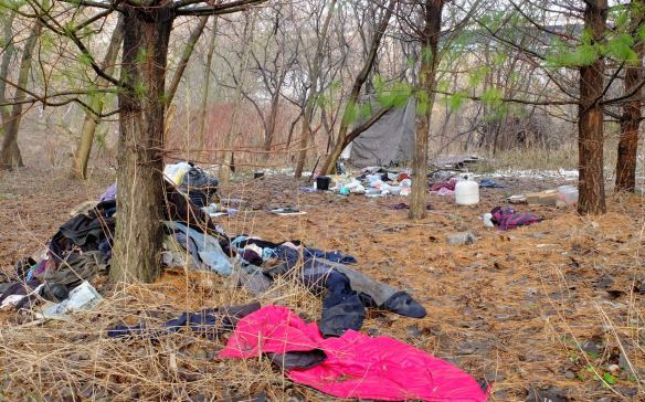 abandoned campsite to the south of the Bloor Street Viaduct on the banks of the Don River