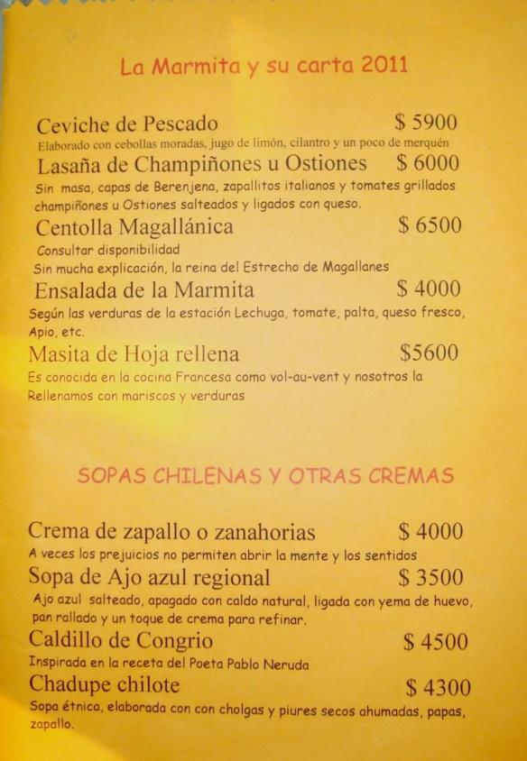 a page from la Marmita's menu