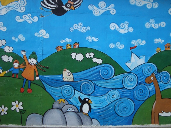 a schoolyard mural in Punta Arenas