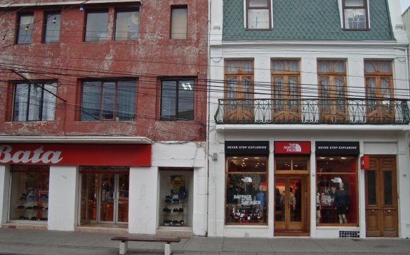 recognizable brand names onthe main street of Punta Arenas