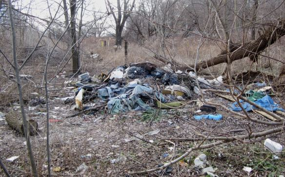 garbage on the banks of Toronto's Don River