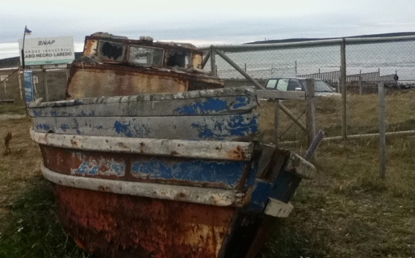 an old fishing boat at the bost launch for Isla Magdelena