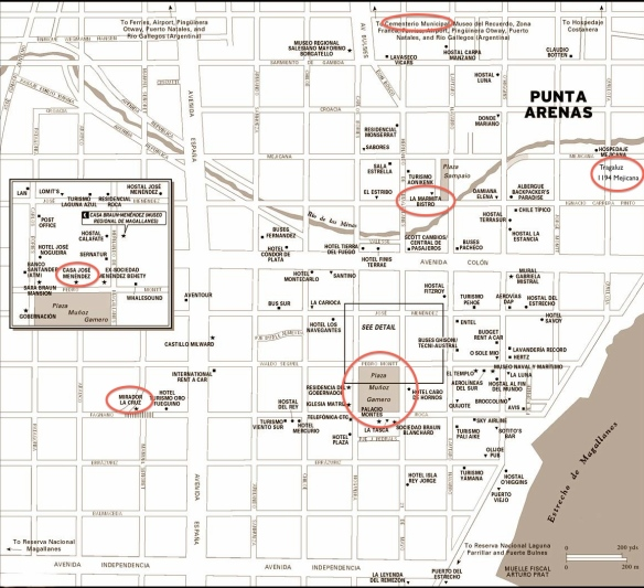 Map of Punta Arenas downtown- with places I mention circled in red