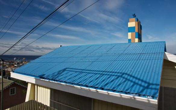 looking down from Mirador Cerro at a rooftop in Punta Arenas