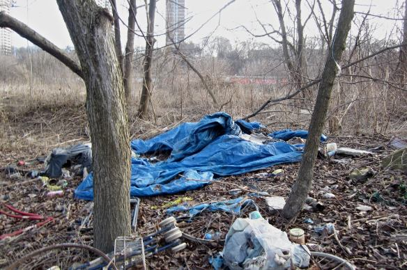 remains of camp on the banks of the lower Don River in Toronto