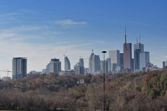 a view of the Lower Don Valley and downtown Toronto from Broadview Ave.