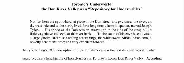 Tornto's Underworld - the Don River River