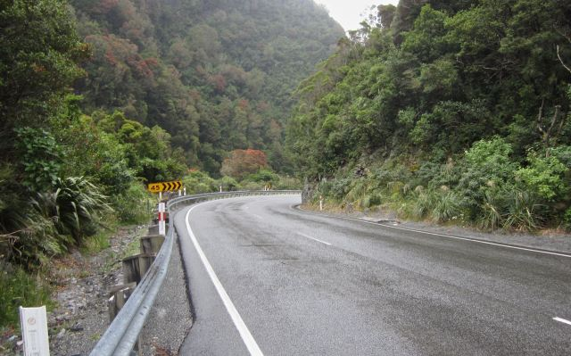 a turn in the road below Otira Gorge Bridge