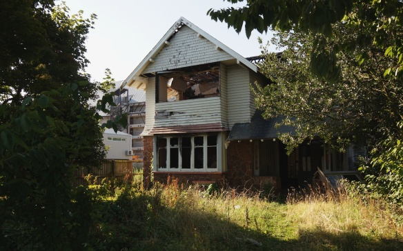 abandoned house in downtown Christchurch
