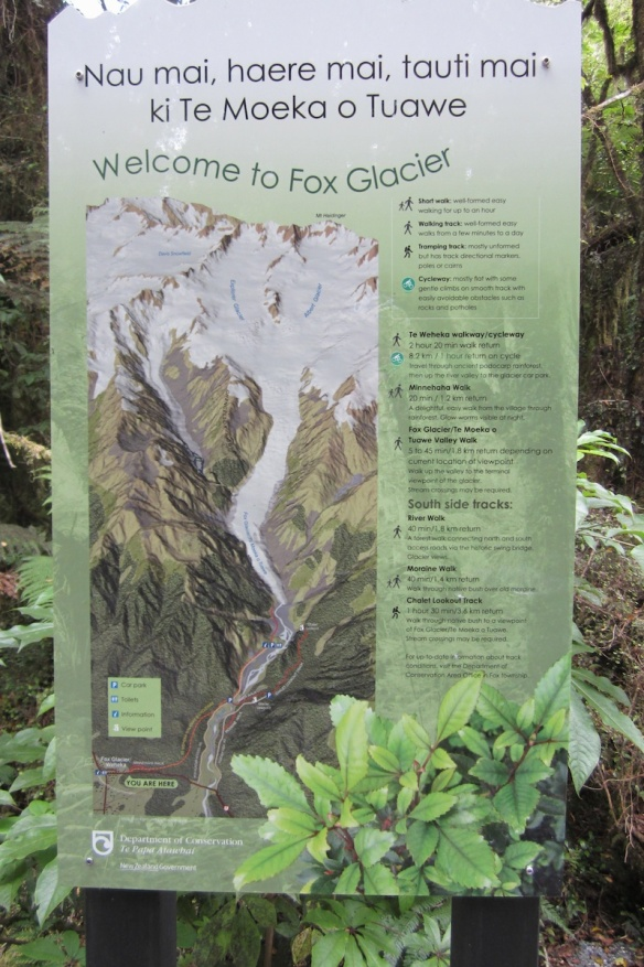 Fox Glacier Map as you leave the village on the walkway:bicycleway