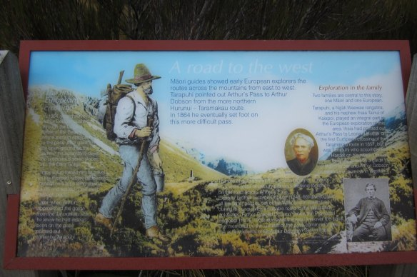 history lesson at a viewpoint to the side of the SH73 below Arthur's pass
