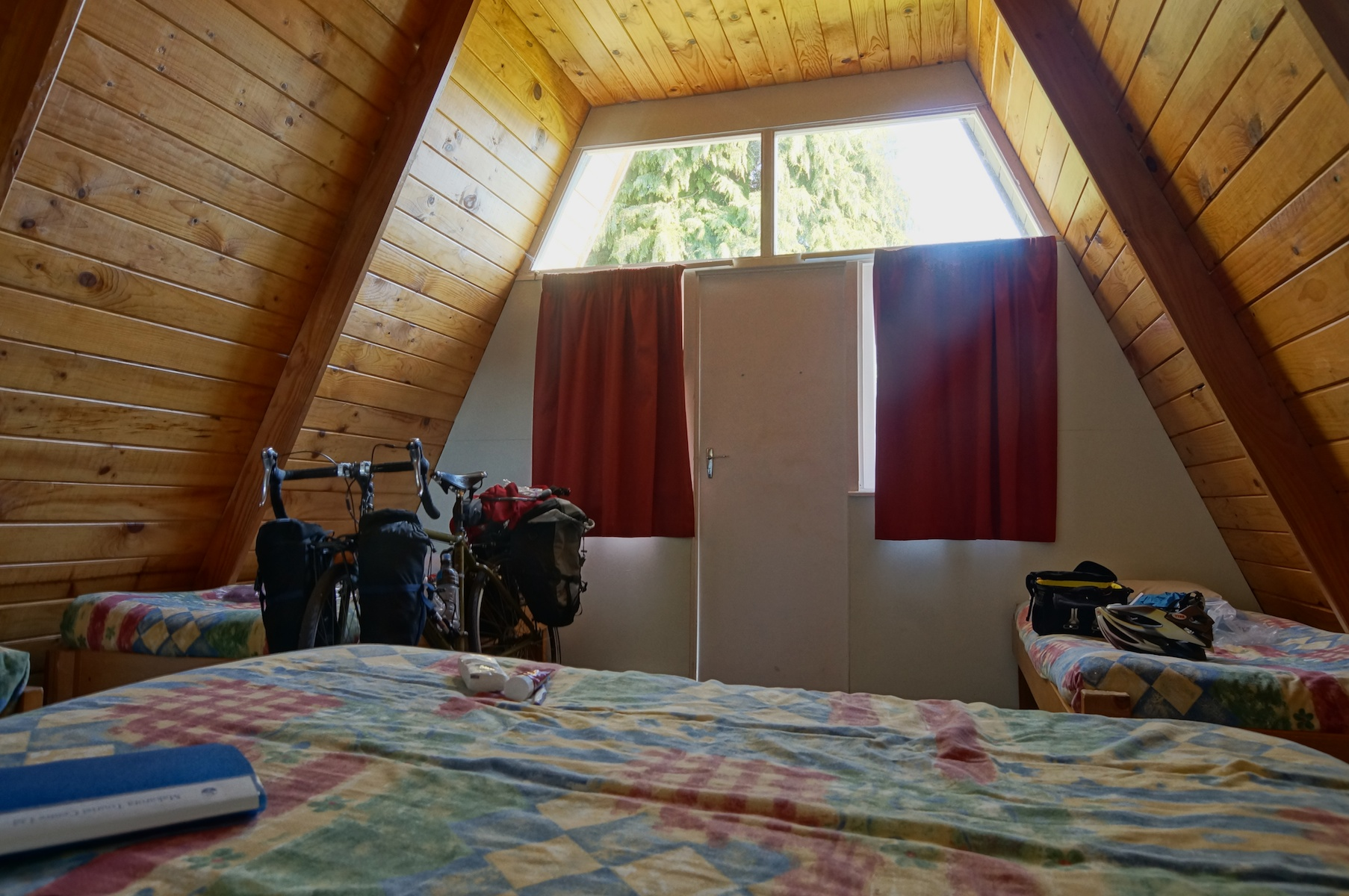 Bicycling south island new zealand part five over the for A frame cabin interior