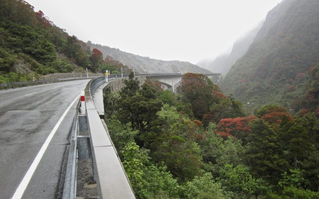 looking back at the Otira Gorge Bridge