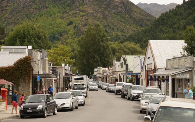 looking down Arrowtown's Buckingham Street from the corner of Wiltshire