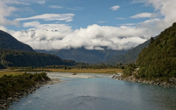 looking up the Whataroa River towards the Southern Alps