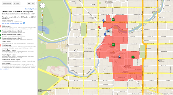 Map of Christchurch central business district red zone cordon. January 7, 2013