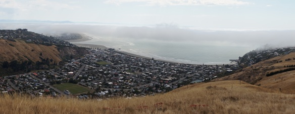 panorama of Sumner and the beach from up near Evan's Pass